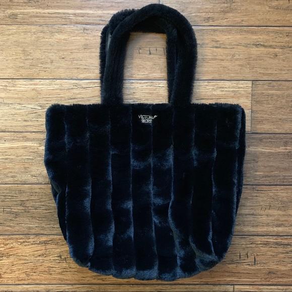 PINK Victoria's Secret Handbags - Black Faux Fur Tote Carry All Bag